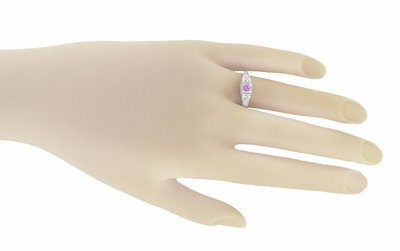 Art Deco Pink Sapphire and Diamonds Filigree Promise Ring in Sterling Silver - Item SSR228PS - Image 2