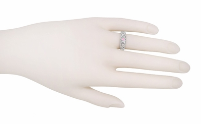 Art Deco Pink Sapphire Band in Sterling Silver Filigree - Item SSR197PS - Image 2