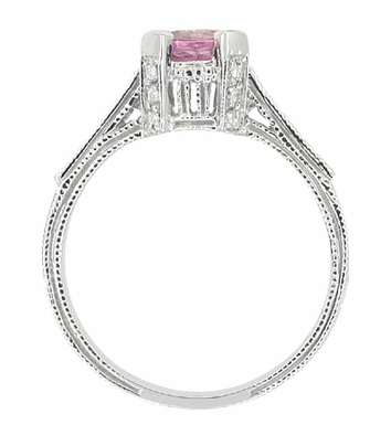 Art Deco Pink Sapphire Castle Engagement Ring in 18 Karat White Gold - Item R663PS - Image 5