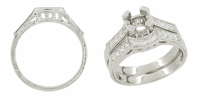 Art Deco Platinum and Diamond Filigree Carved Coordinating Wedding Ring - Item WR240 - Image 1