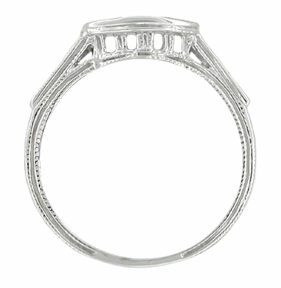 Art Deco Platinum and Diamond Filigree Wedding Ring - Item WR665 - Image 1