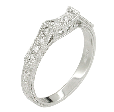 Art Deco Platinum and Diamond Filigree Carved Coordinating Wedding Ring