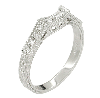Art Deco Platinum and Diamond Filigree Engraved Companion Wedding Ring