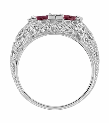 Art Deco Rhodolite Garnet Duo Filigree Ring in 14 Karat White Gold - Item R336RG - Image 1