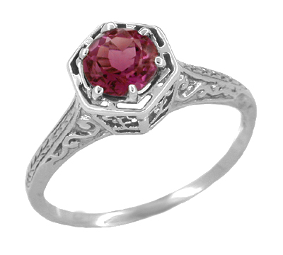 Art Deco Antique Style Filigree Engraved Rhodolite Garnet Engagement Ring in 14 Karat White Gold