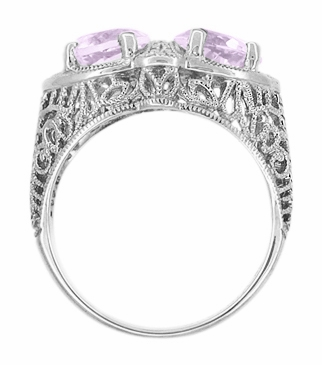 Art Deco Rose de France Amethyst Loving Duo Filigree Ring in 14 Karat White Gold - Item R1129WRF - Image 2