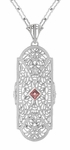 Art Deco Rose Tourmaline and Diamonds Floral Filigree Pendant Necklace in Sterling Silver