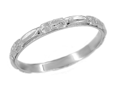 Art Deco Roses Wedding Band in 14 Karat White Gold - Size 7 1/2