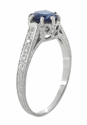 Art Deco Royal Crown 1 Carat Blue Sapphire Engraved Engagement Ring in Platinum, Hand Carved Heirloom Sapphire Engagement Band - Item R460PS - Image 2