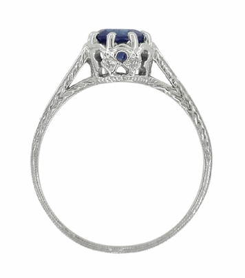 Art Deco Royal Crown 1 Carat Blue Sapphire Engraved Engagement Ring in Platinum, Hand Carved Heirloom Sapphire Engagement Band - Item R460PS - Image 4