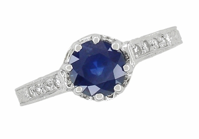 Art Deco Royal Crown 1 Carat Sapphire Engraved Engagement Ring in 18 Karat White Gold, Original 1920s Antique Sapphire Ring Design - Item R460S - Image 1