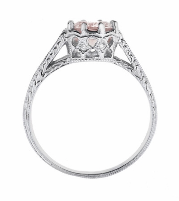 Art Deco Royal Crown Antique Style 1 Carat Morganite Engraved Engagement Ring in 18 Karat White Gold - Item R460WM - Image 3