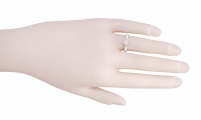 Art Deco Royal Crown Antique Style 1 Carat Morganite Engraved Engagement Ring in 18 Karat White Gold - Item R460WM - Image 4
