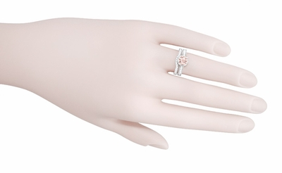 Art Deco Royal Crown Antique Style 1 Carat Morganite Engraved Engagement Ring in Platinum - Item R460PM - Image 5