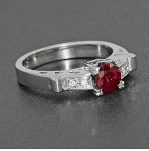 Art Deco Ruby and Diamond Engagement Ring in Platinum - Item R699P - Image 4