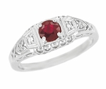Art Deco Ruby and Diamond Filigree Engagement Ring in 14 Karat White Gold