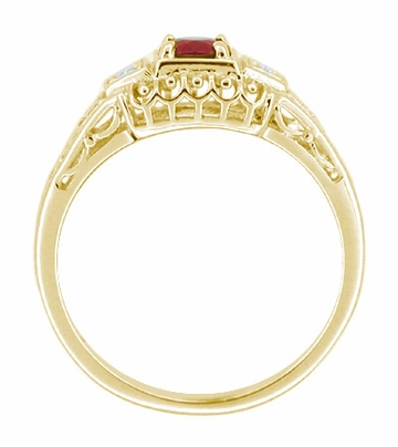 Art Deco Ruby and Diamond Filigree Engagement Ring in 14 Karat Yellow Gold - Item R227Y - Image 1