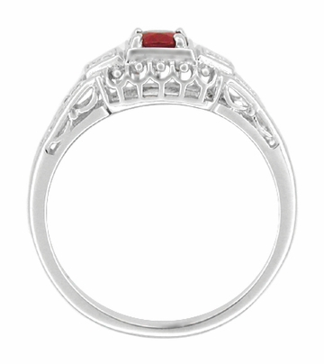Art Deco Ruby and Diamond Filigree Engagement Ring in Platinum - Item R227P - Image 1