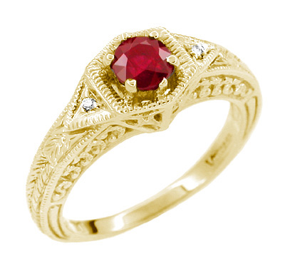 Art Deco Ruby and Diamond Filigree Engraved Engagement Ring in 14 Karat Yellow Gold