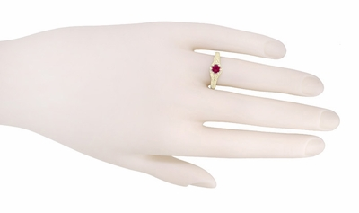 Art Deco Ruby and Diamond Filigree Engraved Engagement Ring in 14 Karat Yellow Gold - Item R290Y - Image 2