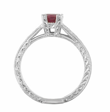 Art Deco Ruby and Diamonds Engraved Engagement Ring in 18 Karat White Gold, Vintage Fishtail Ruby Birthstone Engagement Ring - Item R408W - Image 2
