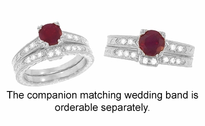 Art Deco Ruby and Diamonds Engraved Engagement Ring in 18 Karat White Gold, Vintage Fishtail Ruby Birthstone Engagement Ring - Item R408W - Image 3
