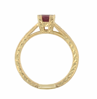 Art Deco Ruby and Diamonds Engraved Engagement Ring in 18 Karat Yellow Gold - Item R408Y - Image 2