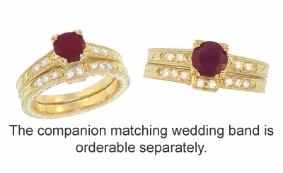 Art Deco Ruby and Diamonds Engraved Engagement Ring in 18 Karat Yellow Gold - Item R408Y - Image 3