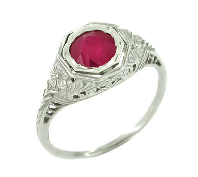 Art Deco Ruby Filigree Ring in 14 Karat White Gold
