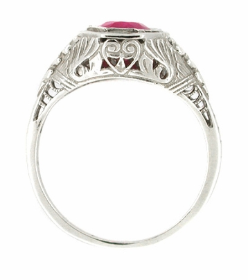 Art Deco Ruby Filigree Ring in 14 Karat White Gold - Item R167 - Image 1