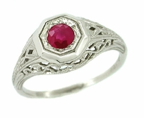 Art Deco Ruby Ring in 14 Karat White Gold