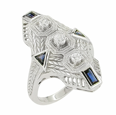 Art Deco Sapphire and Diamond Cocktail Filigree Engraved Ring in 14 Karat White Gold - Item RV876 - Image 1