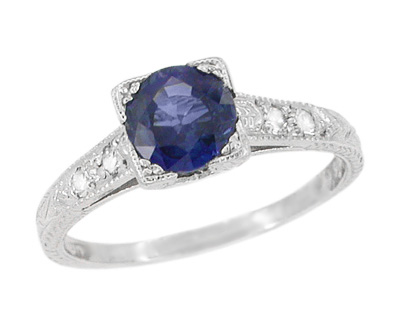Art Deco Sapphire and Diamonds Engraved Engagement Ring in 18 Karat White Gold