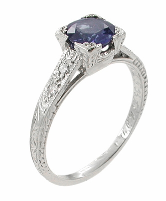 Art Deco Sapphire and Diamonds Engraved Engagement Ring in 18 Karat White Gold - Item R283W - Image 1