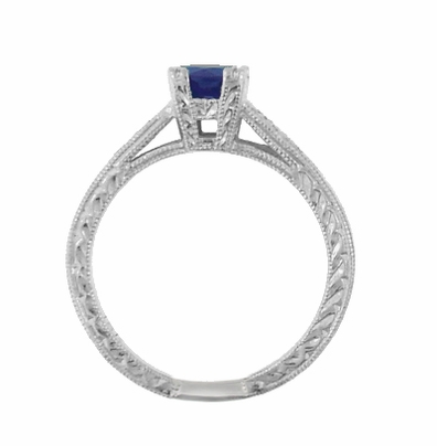 Art Deco Sapphire and Diamonds Engraved Engagement Ring in 18 Karat White Gold - Item R283W - Image 2