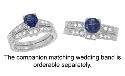 Art Deco Sapphire and Diamonds Engraved Engagement Ring in 18 Karat White Gold - Item R283W - Image 3