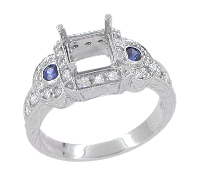 Art Deco Sapphire and Diamonds Engraved Wheat and Scrolls Engagement Ring Setting in 18 Karat White Gold