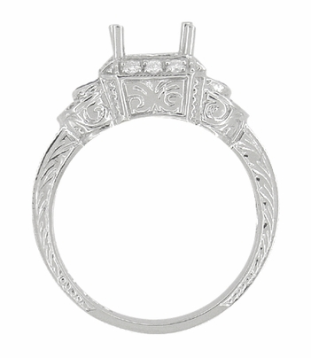 Art Deco Sapphire and Diamonds Engraved Wheat and Scrolls Engagement Ring Setting in 18 Karat White Gold - Item R677 - Image 5