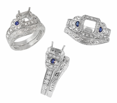 Art Deco Sapphire and Diamonds Engraved Wheat and Scrolls Engagement Ring Setting in 18 Karat White Gold - Item R677 - Image 6