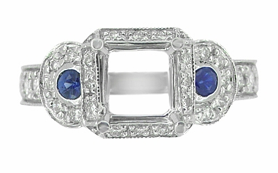 Art Deco Sapphire and Diamonds Engraved Wheat and Scrolls Engagement Ring Setting in Platinum - Item R677P - Image 2