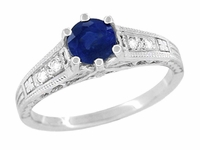 Art Deco Filigree Blue Sapphire Engagement Ring with Diamond Side Stones  in 14K White Gold