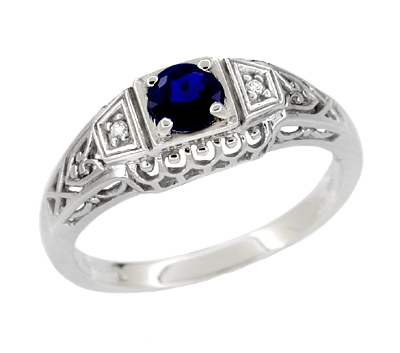 Art Deco Filigree Blue Sapphire Promise Ring In Sterling