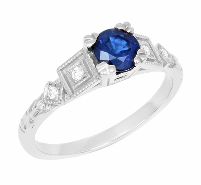 Art Deco Sapphire Engagement Ring in 18K White Gold with Diamonds | Vintage Design - Item R194 - Image 1