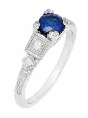 Art Deco Sapphire Engagement Ring in 18K White Gold with Diamonds | Vintage Design - Item R194 - Image 2