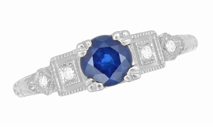Art Deco Sapphire Engagement Ring in 18K White Gold with Diamonds | Vintage Design - Item R194 - Image 3