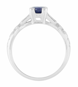 Art Deco Sapphire Engagement Ring in 18K White Gold with Diamonds | Vintage Design - Item R194 - Image 4