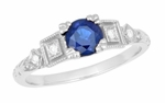 Art Deco Sapphire Engagement Ring in 18K White Gold with Diamonds | Vintage Design