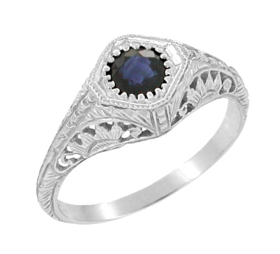 Art Deco Sapphire Engagement Ring with Filigree Engraved Sunflowers in 14 Karat White Gold, Low Profile 1920s Antique Sapphire Ring Design
