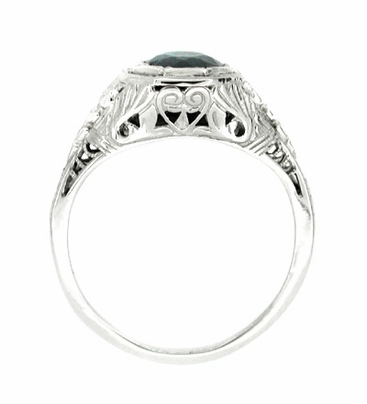Art Deco Sapphire Filigree Ring in 14 Karat White Gold - Item R168 - Image 1