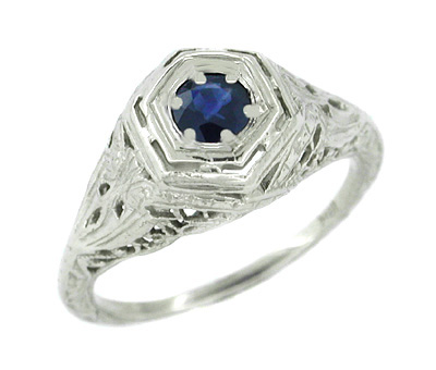 Art Deco Sapphire Ring in 14 Karat White Gold - Filigree Design